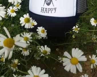 Trucker Hat/ Bee Happy/  Black and White Hat/Bee/ Homesteading/Farmer/Bee Keeping/Fun Gift/ Gardener/inspirational/Honey/ Honey Bee/ Flowers