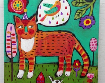 Folk Art Cat Painting on Canvas