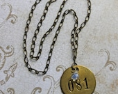 Vintage BRASS TAG Necklace- Found Object Jewelry- 81- Metal Tag Pendant