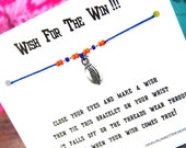 Wish For The Win!!! - Wish Bracelet With Flat Football Charm - Custom Made In Your Team Colors!!!