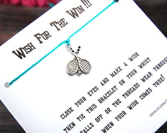 Wish For The Win!!! - Wish Bracelet With Tennis Themed Charm - Custom Made In Your Team Colors!!!