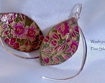 Japanese Washi paper and Fine Silver earrings