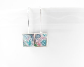 Hey Hey Earrings red, orange, green and aqua marbled resin and sterling silver earring- colorful summer bright