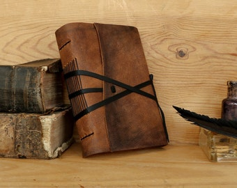 Personalized Leather Journal, FREE MONOGRAMMING, Brown Leather Cover - Nostalgia