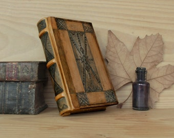 """Leather Bound Book, Antiqued Paper, Tooled Decoration - """"Blues"""""""