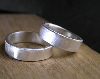 Wedding Band Set - Modern Contemporary Simple Sleek Design. Matching wedding sterling silver bands his and hers.