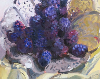 Heavenly Blackberries....still life oil painting done by South Carolina artist Linda Hunt...impressionism, impressionistic