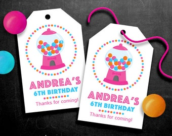 Personalized Gumball Party Favor Tags Pink – DIY Printable – Hang Tags (Digital File)