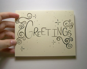 swirly greetings card and envelope