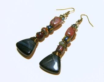 Tiger Eye Long Beaded Wire Wrap Earrings Top Selling Jewelry Most Popular Jewelry Beaded Earrings Jewelry for Women Gift Ideas Jasper
