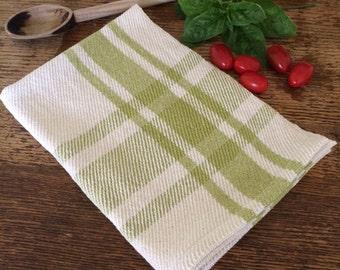 Handwoven kitchen towel / leaf green & ivory farmhouse plaid
