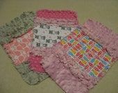 3 New  Baby Girl Burp Cloths with minky backing Zebra Whales Mini Owls