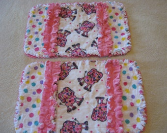 2 New Handmade Flannel Elephants with PokaDots Baby Girl Burp Cloths with Minky backing
