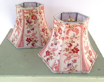French Lamp Shade Floral Fabric Lampshade 5x10x7.5 Hex Bell Shade - Cottage Farmhouse - Shop Favorite Fabric!