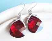 Swarovski Crystal Earrings - Deep Ruby Red Teardrop Briolette - Sweetheart
