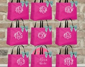 9 bridesmaid tote bags , bridesmaid gifts , bridal party gift , bachelorette party gift ,wedding bag , maid of honor , flowergirl