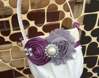 Plum & grey  Flower girl basket / rustic wedding basket / vintage  wedding basket  / wedding basket