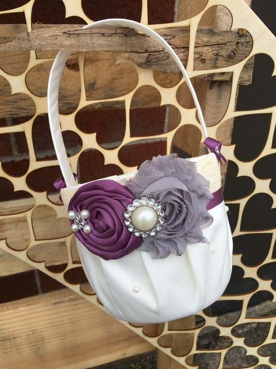 Flower Girl Basket Gray : Plum grey flower girl basket rustic wedding