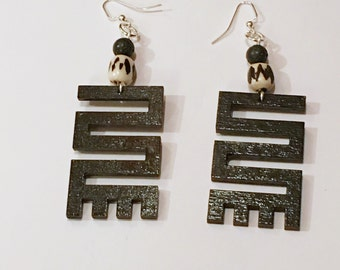 AFRICA Adinkra  NKYINKYIM(initiative) Symbol  Wood Earrings Afrocentric // Natural Wood Hand Stained Earrings