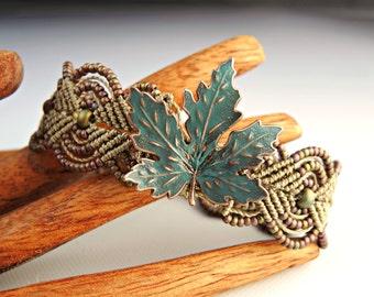 Copper Leaf Macrame Bracelet - Patina Verdigris Copper Leaf -  Khaki Bracelet - Micro Macrame Bracelet - Handmade Autumn Jewelry