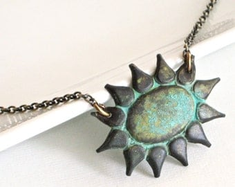 Sunburst Necklace - Patina Necklace, Verdigris Jewelry, Nature Jewelry