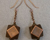Vintage Large Copper Faceted Bead Dangle Drop Earrings, Copper Handmade Ear Wires, Copper Chain - GIFT WRAPPED