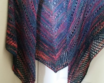 Shawl - Hand Knit Multi-Colored Triangular Shawl