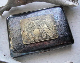 Wolf Etched Wallet / Cigarette Case in Steampunk Victorian Filigree - Acid Bath Series
