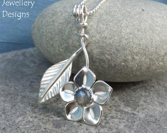 Labradorite Flower and Leaf Sterling Silver Pendant - Gemstone Flower - Handmade Metalwork Wirework Jewelry - Garden Floral Petals