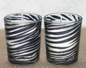 Soy Votives in Zebra Stripe Holders, Pair of Soy Votives in Glass Containers, Soy Votives in Black Stripe Holders, Black and White Decor