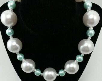 Elegant Pastel Large Bead Necklace with Rhinestone Accents