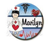 """50% OFF - Pocket Mirror, Magnet or Pinback Button - Party Favors 2.25"""" -  Personalized Name For Nurses MR434"""
