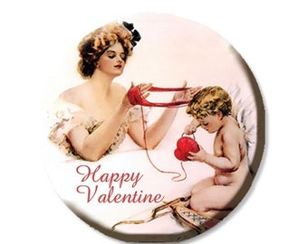 """30% OFF - Happy Valentine Knitting Cupid Pocket Mirror, Magnet or Pinback Button - Favors - 2.25""""-  MR332"""