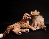 OOAK Realistic Miniature Cheetah Mom and Cub - Bathtime - wild cats by Malga
