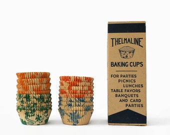 Vintage Baking Cups, Thelmaline Brand Baking Cups, Muffin Cups, Cupcake Cups, Vintage Party Supplies
