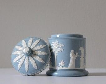 """Vintage Wedgwood Queensware Lidded Jar, Wedgwood """"Sacrifice"""" Jar, Jasperware Jar, Classical Design"""
