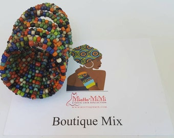 Beaded cuff bracelet made from African seed beads
