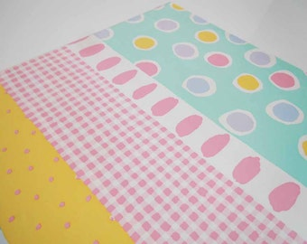Vintage 1980's All Occasions Pastel Wrapping Paper Polka Dots Gingham Gift Wrap