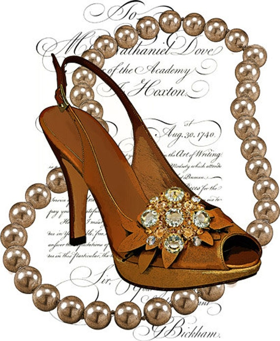 pearl necklace high heel shoe png clip art Digital Sheet Printable Images graphics fashion art printables personal commercial use