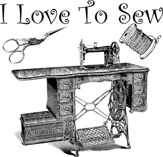 antique sewing maching, png clip art, love to sew words, text Digital Image Download typography art for cards, t shirts, totes etc...