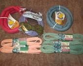 Big Lot--Twisted Paper Ribbon--Assorted Colors And Sizes--Sage Green--Peach--Country Blue--Scarlet