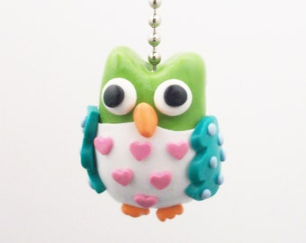 Owl Ceiling Fan Pull Chain -  Lime, Teal, and Pink - Owl Nursery Decor - Woodland Themed Room Decor - Polymer Clay