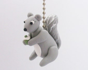 Squirrel Fan Pull Chain - Gray and White - Woodland Nursery Decor - Polymer Clay - Children's Forest Themed Room Decor
