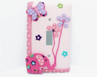 Pink Elephant, Lavender Butterfly, Flowers - Children's light switch cover - Nursery, Girls