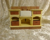 12th scale dollhouse miniature kitchen sink with faux marble top, drawers and shelves, with hand-made wood boxes/crates