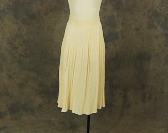 Clearance SALE vintage 70 Knit Skirt - 1970s Cream Sweater Ribbed Knit Midi Skirt Sz L XL