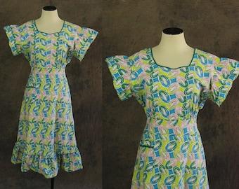 vintage 30s Day Dress - 1930s Art Deco Print Cotton Dress Novelty Print House Dress Sun Dress Sz M L