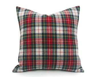 White Red Plaid Pillows, Christmas Plaid Pillow Cover, Wool Plaid Pillows, Stewart Plaid Pillow, Stuart Tartan Pillow, 12x20, 18x18, 20x20