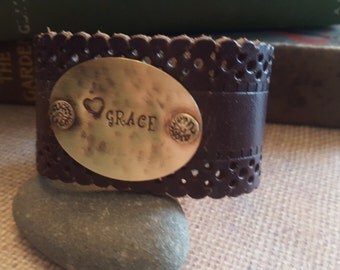 Up-Cycled Brown Embossed Leather Cuff Bracelet with - GRACE -Quote- Antique Brass Metal