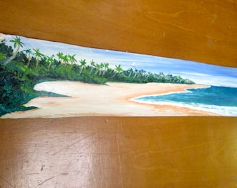 Original Art On Drift Wood- Tropical beach Scene-  Beach Decor- office decor- art for walls